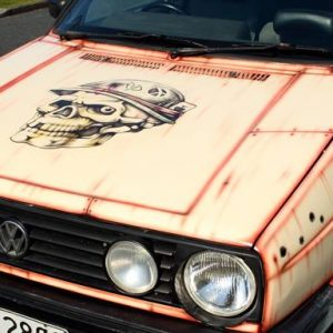 VW Golf Custom Airbrushing - Bonnet Detailing