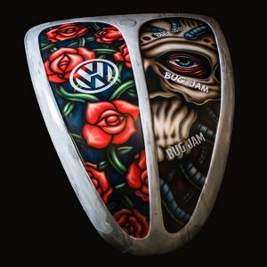 VW Beetle - Custom Airbrushing - Airbrushed Bonnet Roses and Skulls
